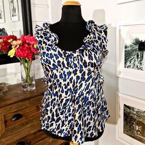 Violet & Claire Leopard Print Blouse- size XL